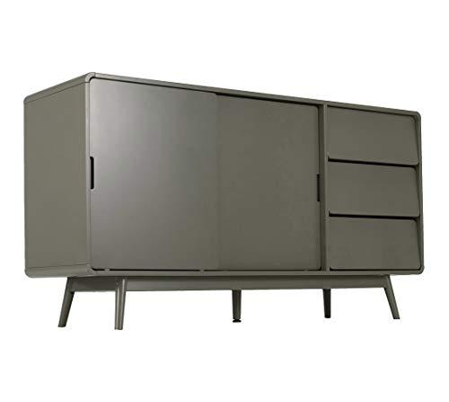 Muebletmoi REVO 3345 - Aparador (145 cm, 2 puertas correderas y 3 cajones), color verde