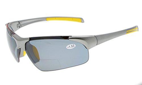 Eyekepper TR90 Unzerbrechliche Sport-halb-randlose bifokale Sonnenbrille Baseball-laufender Fischen-fahrender Golf-Softball-wandernder grauer Rahmen-graues Objektiv +2.0