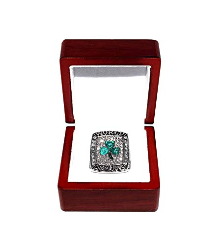 BOSTON CELTICS (Kevin Garnett) 2008 NBA FINALS WORLD CHAMPIONS (Banner 17 Win) Collectible High-Quality Replica Basketball Silver Championship Ring with Cherrywood Display Box