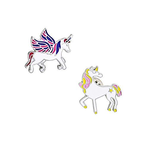 QFERW Broche Creativo Lindo Animal de Dibujos Animados ala ala Broche de Caballoalfileres Bolso de Moda Sombrero Camisa decoración botón alfiler par Insignia, Amarillo