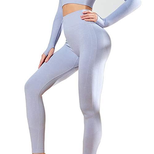 LSRRYD Medias de cintura alta para mujer, pantalones de yoga, sin costuras, para correr, pantalones de deporte y mujer, color azul, talla S: S