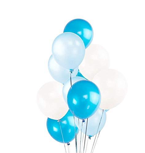 50x Luftballons Mix Ø 35 cm Ballons Balloons Luftballon Ballon 1. Geburtstag babyblau, himmelblau blau, weiß weiss Latexballons - Kein Plastik -100 % Bio & recyclebar - (babyblau-hellblau-weiß-mix)