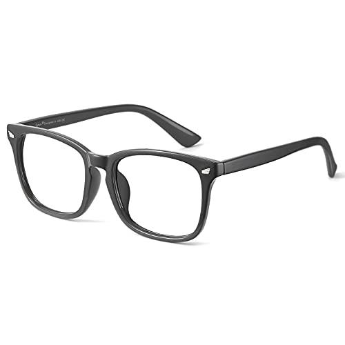 Cyxus Óculos de Luz azul Óculos Quadrados para Computador Óculos Anti-fadiga Ocular Lente Transparente UV400 para Mulheres/Homens (Moldura cinza)