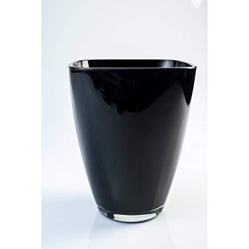 INNA-Glas Eckige Vase Yule aus Glas, schwarz, 17x13x13cm - Blumenvase - Tischvase