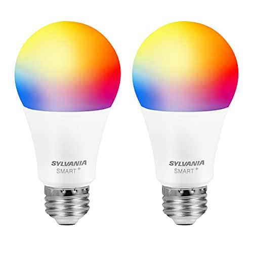 SYLVANIA Bluetooth Mesh LED Smart Glühbirne, One Touch Set Up, A19 60W Äquivalent, E26, RGBW Vollfarbe & Verstellbares Weiß, funktioniert nur mit Alexa – 2 Stück (75760)