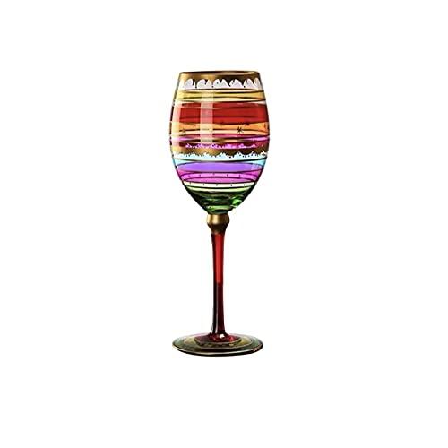 WSYGHP Cristal de Vino de Vino Cóctel de Cristal Estilo Vino Pintado a Mano Vino-Moderno Vino Largo Vino de Vino con Tallo, Adecuado para Bodas, Navidad, cata de vinos Partie a17 Vasos de Whisky