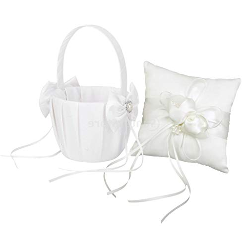 AMAZING1 Elegante lazo de satén para boda, fiesta de novia, cojín de almohada para niña de flores, juego de cesta de regalo