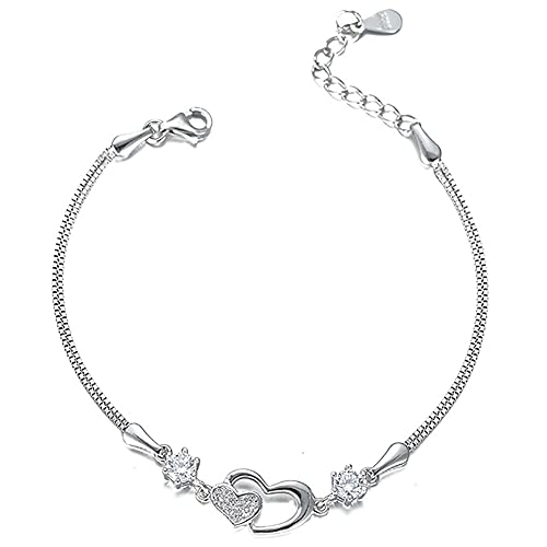 LESIXW 925 Pulsera en Forma de corazón de Plata de Ley 925 Temperamento de Moda Lleno de Diamantes Versátiles y de Moda Pulsera de Doble corazón Pulsera