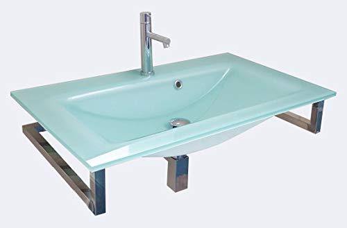 Lavabo in Float Acquamarina con Supporto in Acciaio Inox 80x50cm