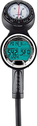 Cressi Unisex-Youth Sub Leonardo 3 Scuba Diving Computer Console with Pressure Gauge and Compass, Schwarz, 3 psi