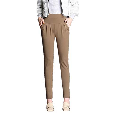 U/A pantaloni a vita alta più pantaloni allentati donna donna cachi XXXL