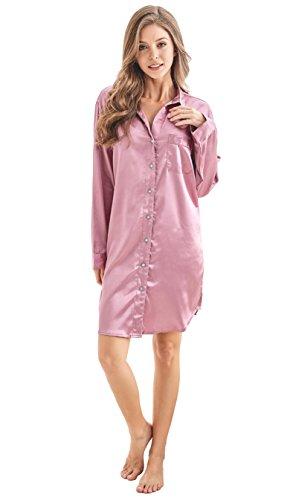 Women's Sleep Shirt, Satin Pajama Top Long Sleeve Nightshirt from Tony & Candice (XL=US (16-18), Light Burgundy)