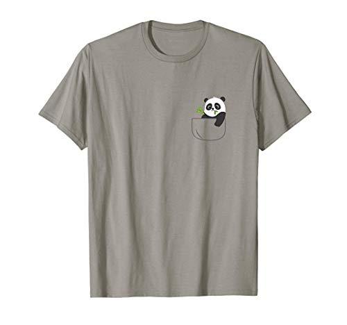 Lindo bebé Panda Oso Bambú en un bolsillo Camiseta