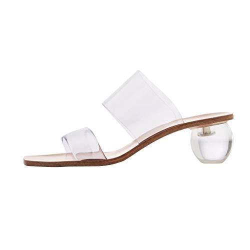 MOTOCO Frauen Damen Hausschuhe Sandalen Sommer Karree High Heels Schuhe Transparente Pumps Jelly Beach Flip Flops(Weiß,37 EU)
