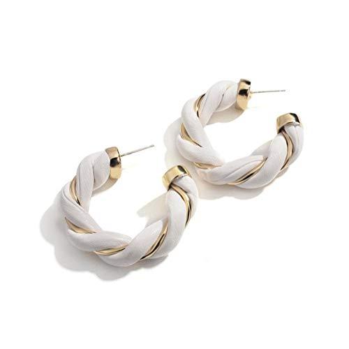 Weave Metal Leather Twisted Hoop Earrings Vintage White Shape Circle Earrings for Women Girls Jewelry