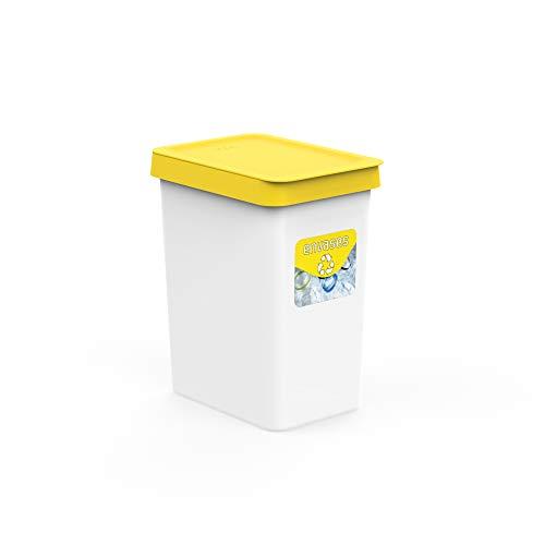 USE FAMILY papelera Recycle, Papelera reciclaje envases plástico 12 Litros- 27x20x33 cm | + Pegatinas Reciclaje | Para Bolsas 10 L | Cubos de basura ecologico Plástico Reciclable.