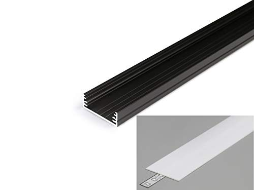 LED Profil 3,2cm breit Aluminium Schwarz eloxiert für LED Streifen 2m inkl. Abdeckung Milchig UV beständig, für LED Bänder bis max. 29,8mm. (Schwarz, 2m milchig)