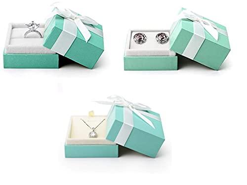Recet Joyero de terciopelo con colgante, caja de presentación de joyas, adecuado para mujeres y niñas, regalo de joyería (juego de 3 unidades)