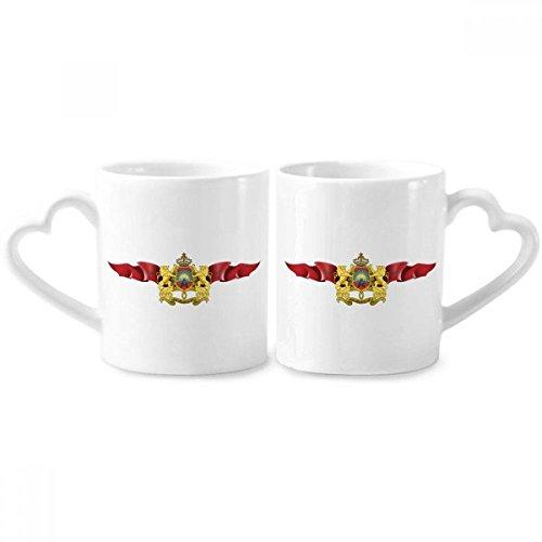 DIYthinker Marokko-Flagge National Emblem Paar Tassen Keramik-Liebhaber Becher Herz Handgriff 12 Unzen Geschenk Mehrfarbig