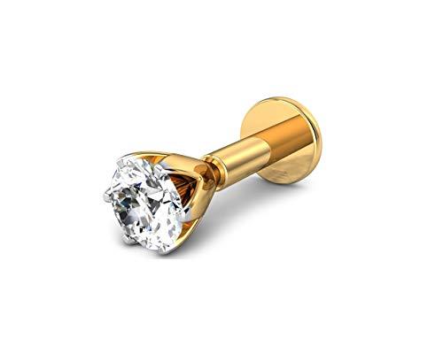 Piercing de tuerca de oro para nariz y labio, 1/5 de 0,20 quilates, diamante natural de oro amarillo de 14 quilates, 18 g