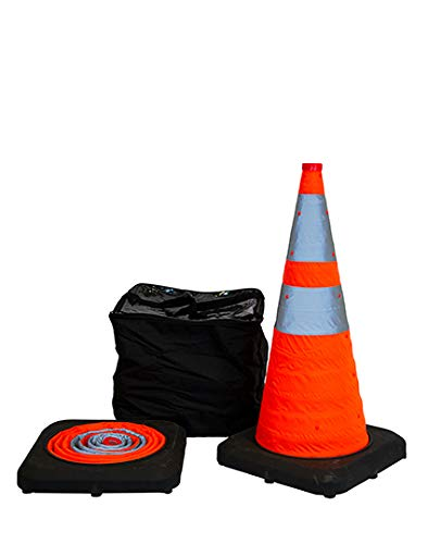 28' Collapsible Pop Up Reflective Traffic Cones with Rubber Base