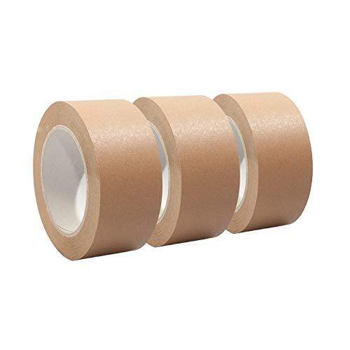 Papierklebeband   Papierpackband   Papierband   Papier Klebeband   Ökologisch & nachhaltig, 50mm x 50m, braun, Menge:3