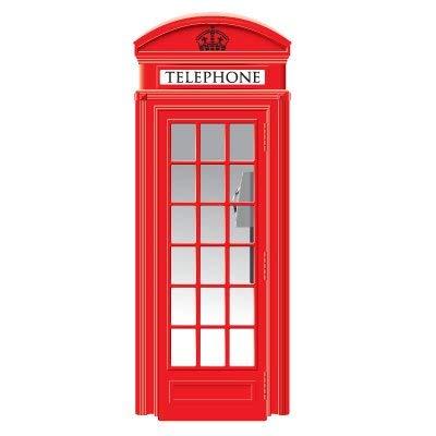Vinilo para Puerta Decorativo Cabina de teléfonos Londres Varias Medidas | Adhesivo Resistente y de Fácil Aplicación | Multicolor | Pegatina Adhesiva Decorativa de Diseño Elegante
