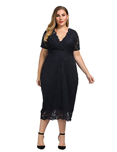 Chicwe Women's Plus Size Stretch Scalloped Lace Bodycon Dress - Party Wedding Cocktail Dress