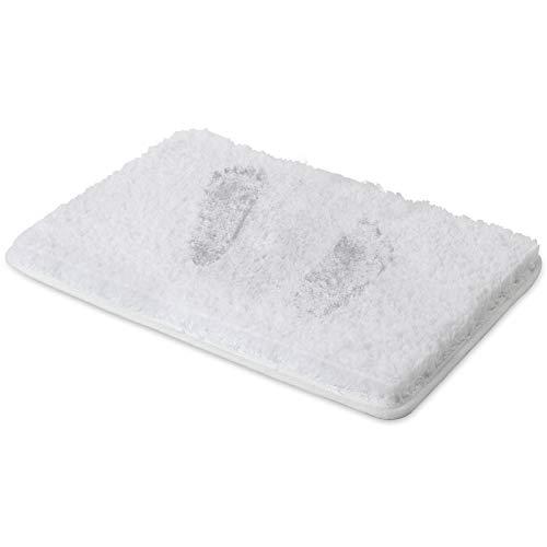 RiyaNed - Alfombra de baño antideslizante, suave y mullida, lavable a máquina, fácil de limpiar, superabsorbente, apta para bañera, ducha y baño (blanco, 50 x 80 cm)