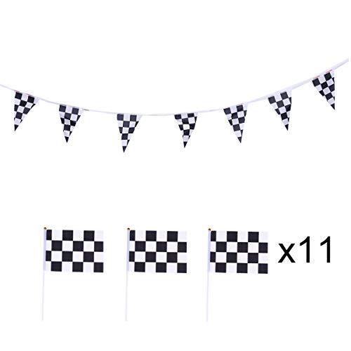 Amosfun F1 Racing Banner schwarz und weiß Karierte Formel Hand wehende Fahnen Rennwagen Thema Party Supplies 11St