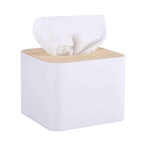 Blkthun Tissue Holders - Tapa de caja de pañuelos de madera, recipiente para pañuelos, caja de almacenamiento cuadrada para pañuelos de papel para cuarto de baño, dormitorio o oficina
