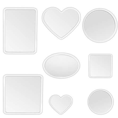 Fulushou Stampo in Silicone in Resina 8 Pezzi Stampi in Resina Epossidica per Sottobicchieri Cuore Rotondo Quadrato Rettangolo Forma Ovale Stampi in Resina per Artigianato Artistico