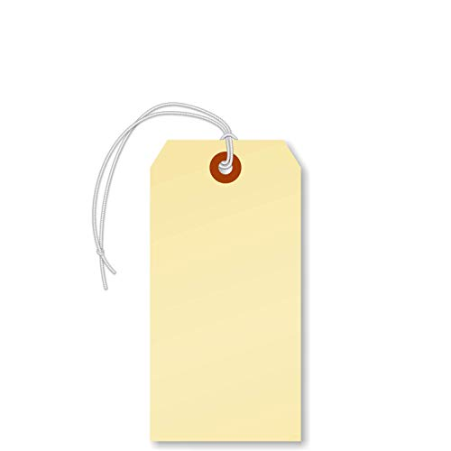 """SmartSign Blank Manila Shipping Tags with Elastic, Size #5 