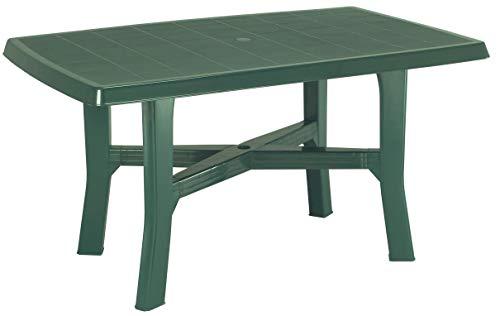 SF SAVINO FILIPPO Tavolo tavolino Rettangolare in Resina di plastica Verde per Esterno da Giardino terrazzo Bar sagra Campeggio con Foro per ombrellone
