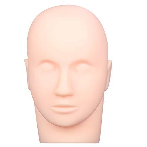 Esthetics Mannequin Head Rubber Practice Training Head Cosmetology Mannequin Doll Face Head for Eyelashes Makeup Practice - Makeup Practice Head,with Mount Hole