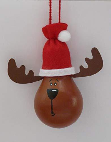 Elch mit Weihnachtsmütze - Weihnachtsdeko - Upcycling Glühbirne