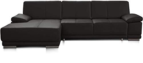 CAVADORE Eckcouch Corianne / Modernes Leder-Sofa mit verstellbaren Armlehnen und Longchair / 282 x 80 x 162 / Echtleder, braun
