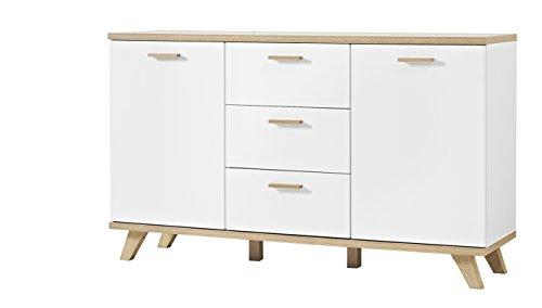 Germania 3216-221 Sideboard im skandinavischen Design GW-Oslo in Weiß/Absetzungen Sanremo-Eiche-Nachbildung, 144 x 85 x 40 cm (BxHxT)