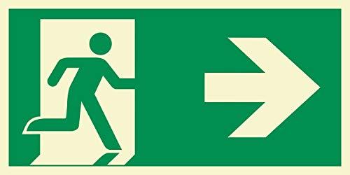 Rettungsweg rechts Notausgang Rettungswegschild Schild Nachleuchtend ASR A1.3 300 x 150 mm