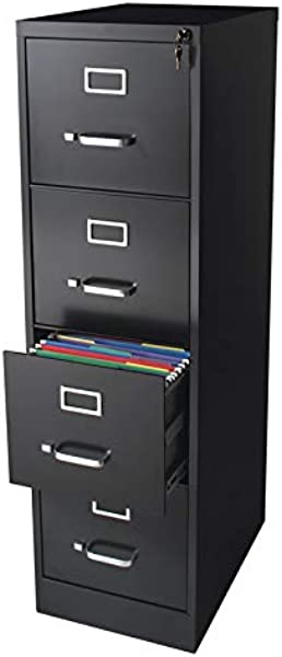 Pemberly Row 22 Deep Commerical Grade 4 Drawer Letter File Cabinet In Black Fully Assembled