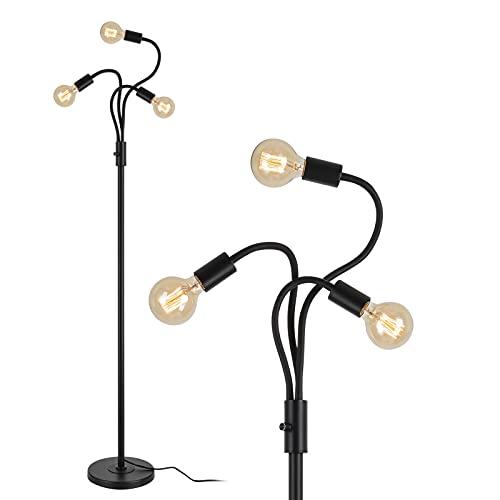 Rayofly Lámpara de pie de 3 ramas industrial, lámpara de pie con altura de 162 cm, lámpara retro para sofá, lámpara de lectura para oficina, salón, dormitorio, E27, color negro