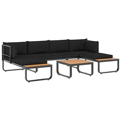 vidaXL Garten Ecksofa Set 4-TLG. mit Auflagen Gartenmöbel Sofa Lounge Gartenset Gartensofa Sitzgruppe Sitzgarnitur Garten Garnitur Aluminium WPC