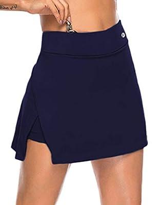 JOYMODE Women's Tennis Skort Workout Training Skirt with Pockets Golf Apparel Elastic Active Skirts (Navy Blue, US 8-10=M)