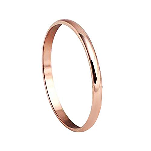 N-A Women Men Titanium Steel Wedding Band Tail Ring Couple Finger Jewelry Rose Gold 9