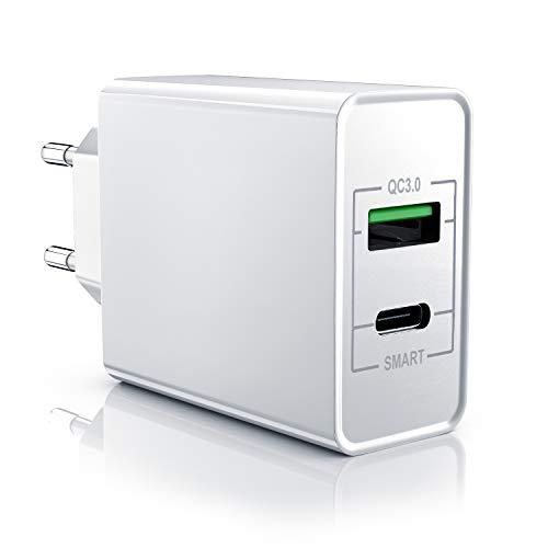 aplic - Caricabatterie USB 33W QC 3.0 - Caricatore a 2 Porte USB Tipo A USB Tipo C incl. Quick Charge Funzione Smart Charge - Smart Charge e Solid Charge Ricarica Intelligente