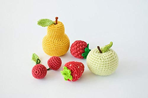 Find Bargain HICOC Children Toy Crochet Baby Rattles Fruit, Set of 5 - Apple, pear, Raspberry, srawb...