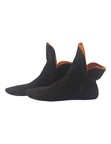 RAIKOU Hausschuhe für Damen, Herren für drinnen aus Micro Fleece mit ABS und Rutschfester Sohle,Haussocken Stoppersocken mit Super Flauschige Hüttenschuhe (Coffee/Orange,37/40)