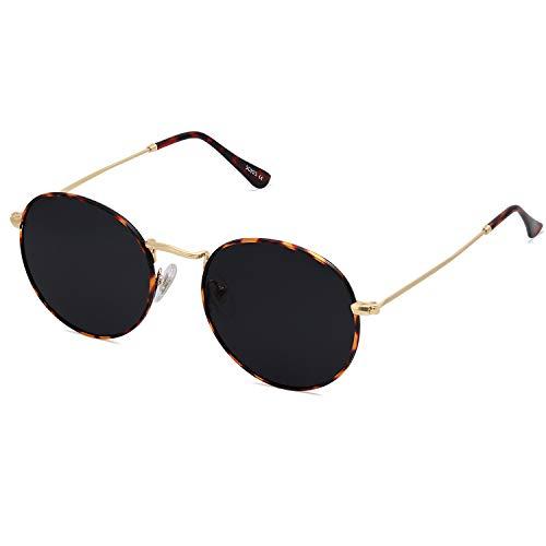 SOJOS Small Round Polarized Sunglasses for Women Men Classic Vintage Retro Frame UV Protection SJ1014 with Tortoise Frame/Grey Lens