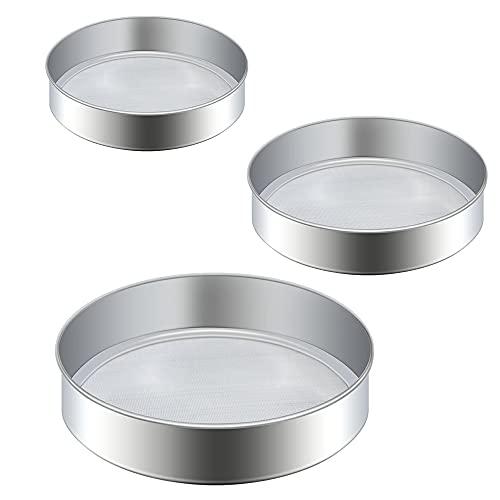 3 piezas Tamiz de cocina de malla Fine duradero Colador profesional para harina Tamiz de malla fina de alta calidad de acero inoxidable utilizado para hornear pasteles pasteles utensilios de cocina