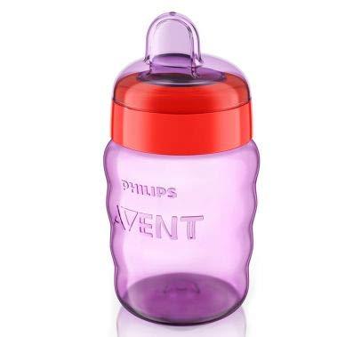 Philips Avent SCF553/03 - Vaso con boquilla de silicona para niña, válvula antigoteo, sin BPA, para 9 meses, 260 ml, color rosa